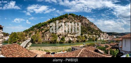 Berat city of 1000 windows panorama in Albania