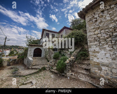 Small streets  Berat city of 1000 windows in Albania