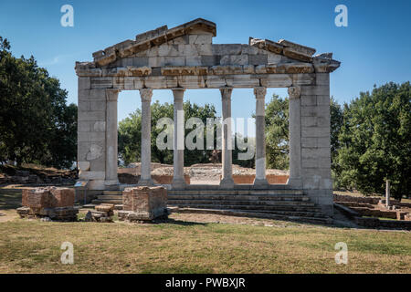 Temple and theater in the ancient city of Apollonia, Albania - Stock Photo