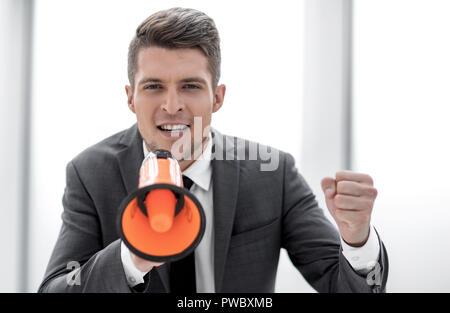 Young casual man shouting - Stock Photo