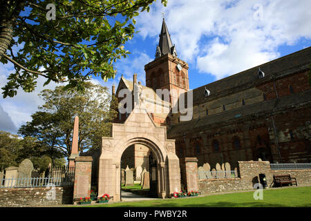 12th century Romanesque Saint Magnus cathedral in Kirkwall, Orkney, Scotland, Highlands, United Kingdom - Stock Photo