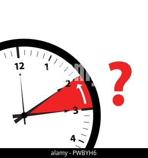 clock time zone change icon image with red question mark vector illustration - Stock Photo
