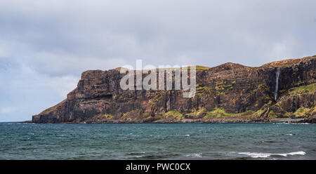 Waterfall and beach Talisker Bay, Sile of Skye, Inner Hebrides Scotland, uk - Stock Photo