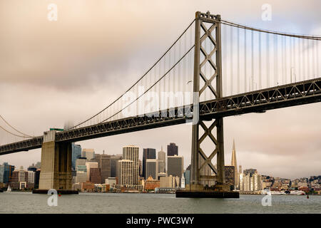 View from out in the bay of the long waterfront area along the San Francisco California downtown city skyline - Stock Photo