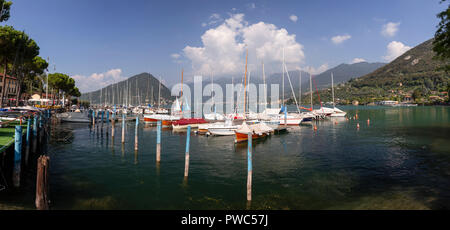 Boats moored at Pilzone on Lake Iseo in northern Italy - Stock Photo