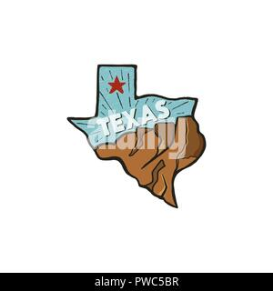 Vintage hand drawn Texas badge state badge, United States. Flat style icon, logo. Featuring mountains, red star. Retro patch, logotype. Nice for T-Shirt prints, stamp. Stock vector isolated on white - Stock Photo
