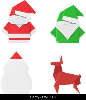 Set of origami Christmas characters: Santa Claus, elf, snowman and deer. Paper toys for decorations - Stock Photo