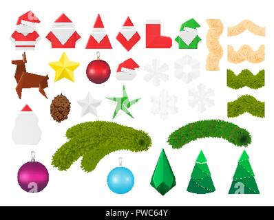 Christmas decorations and ornaments set. Festive elements including paper origami toys of Santa Claus and snowman, snowflake and elf, sock and star, d - Stock Photo