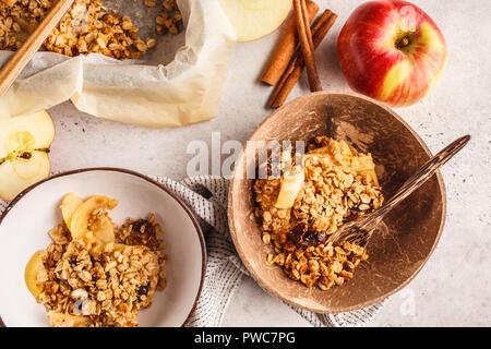 Autumn apple oat crumble cake with cinnamon. - Stock Photo