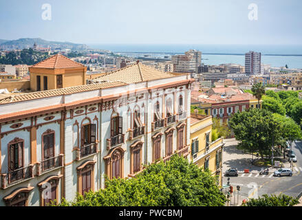 historical Valdes palace seen from above and in the background the city of Cagliari. Palazzo Valdés is an important icon of the architectural landsca - Stock Photo