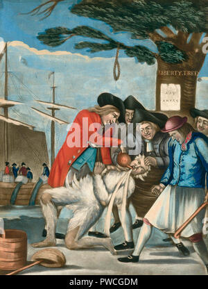 The Bostonians Paying the Excise-man, or Tarring and Feathering (1774) - Philip Dawe - Stock Photo