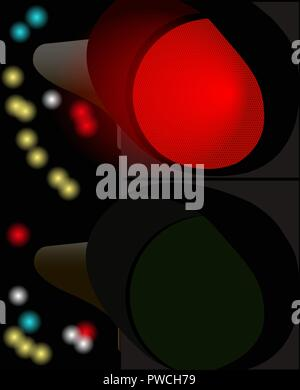illustration of a traffic light working at night - Stock Photo