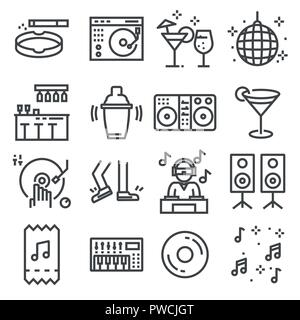Set of dancing, dj, music, disco vector line icons on white background - Stock Photo