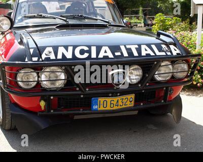 Vintage Lancia Fulvia on display at the 8th Hellenic Bulgarian LEKAM classic car rally at the Acharavi Park Hotel, Acharavi, Corfu, Greece - Stock Photo