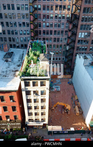 Roof garden in New York next to construction site - Stock Photo
