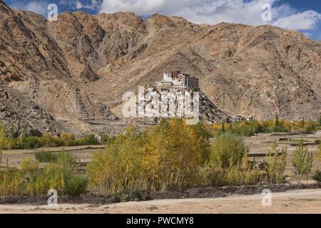 Chemrey Monastery with fall colors, Ladakh, India - Stock Photo