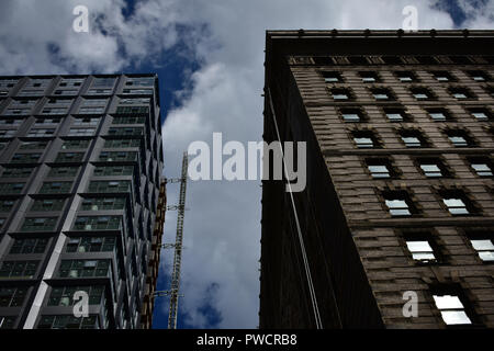 Philadelphia Building Architecture historic vs. modern with POV looking up - Stock Photo