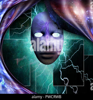 Surrealism. Mystic mask with lightnings. Warped space. - Stock Photo