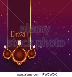 beautiful happy diwali diya decoration background - Stock Photo