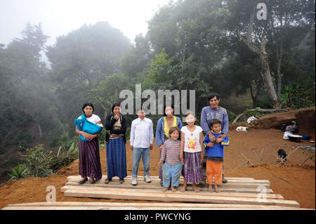 A maya indigenous family in Aqua Escondida, Slola, Guatemala. - Stock Photo