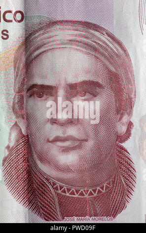 Portrait of Jose Maria Morelos y Pavon from 50 pesos banknote, Mexico, 2016 - Stock Photo