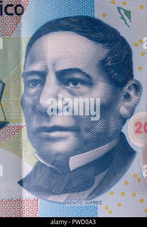 Portrait of Benito Juarez from banknote, 2013 - Stock Photo