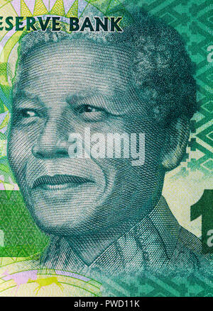 Portrait of Nelson Mandela from 10 rand banknote, Republic of South Africa, 2015 - Stock Photo