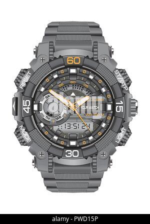 Realistic clock watch sport digital chronograph grey for men design modern on white background vector illustration. - Stock Photo
