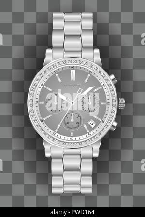 Realistic clock chronograph watch for men silver diamond grey face on checkered background luxury vector illustration. - Stock Photo