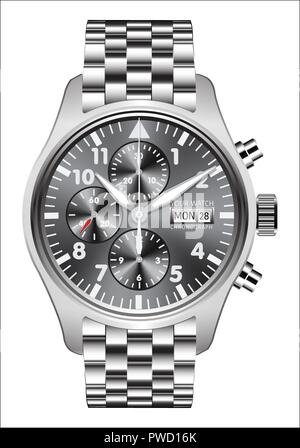 Realistic watch clock chronograph stainless steel on white background vector illustration. - Stock Photo