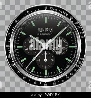 Realistic watch clock chronograph face stainless steel dial black on checkered pattern background vector illustration. - Stock Photo
