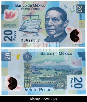 20 pesos banknote, Benito Juarez, Mexico, 2013 - Stock Photo