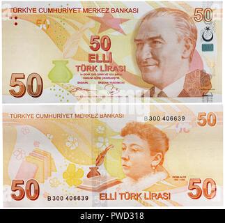 50 lira banknote, Mustafa Kemal Ataturk, Fatma Aliye Topuz, Turkey, 2009 - Stock Photo