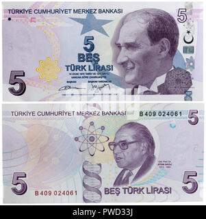 5 lira banknote, Mustafa Kemal Ataturk, Aydin Sayili, Turkey, 2009 - Stock Photo