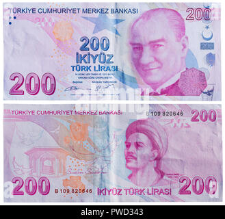 200 lira banknote, Mustafa Kemal Ataturk, Yunus Emre, Turkey, 2009 - Stock Photo