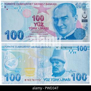100 lira banknote, Mustafa Kemal Ataturk, Buhurizade Itri, Turkey, 2009 - Stock Photo