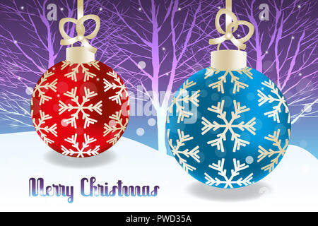 Retro Christmas baubles in red and blue with golden design elements on snowy landscape with snowflakes and stars and text Merry Christmas - Stock Photo