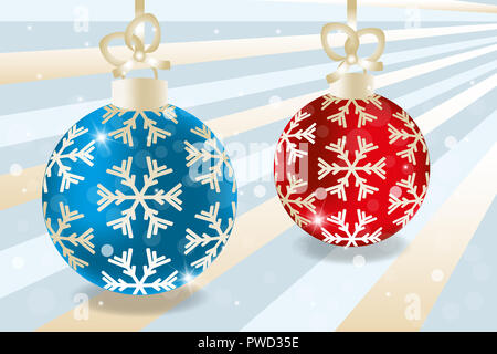 Realistic Christmas baubles in blue and red with golden decorations on retro background with stars and snowflakes, without text - Stock Photo