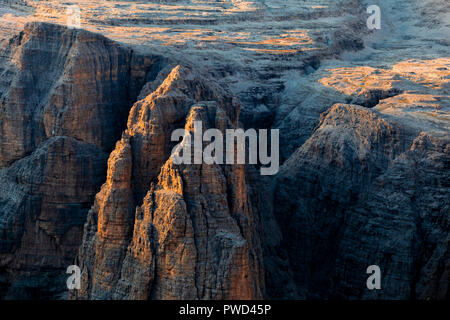 Torn de Siela pinnacle during sunset. Fassa Valley, Trentino, Dolomites, Italy, Europe. - Stock Photo