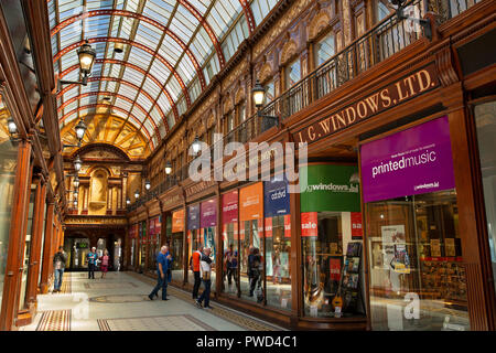 UK, England, Tyneside, Newcastle upon Tyne, Central Arcade, Windows Music Shop - Stock Photo