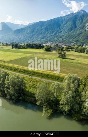 Panoramic elevated of cycle route Sentiero Valtellina between Dubino and Trivio, Sondrio province, Valtellina, Lombardy, Italy - Stock Photo