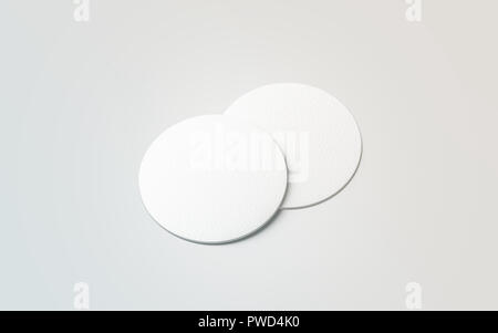 Blank white two beer coasters mockup set, isolated, 3d rendering. Blank round rug for beverage mock up. Empty bottle coaster lying. Circular can mat design. - Stock Photo