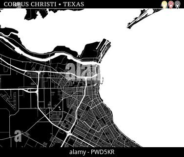 Simple map of Corpus Christi, Texas, USA. Black and white version for clean backgrounds and prints. This map of Corpus Christi contains three markers  - Stock Photo