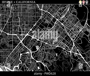 Simple map of Irvine, California, USA. Black and white version for clean backgrounds and prints. This map of Irvine contains three markers who are gro - Stock Photo