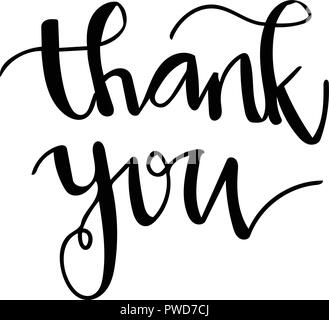 Thank you hand writing. Handwritten lettering. Modern Calligraphy. Vector lettering isolated vector on white background - Stock Photo