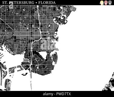 Map St Petersburg Florida.St Petersburg Florida City Map With American National Flag