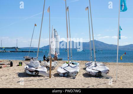 PORT DE POLLENCA, MAJORCA, SPAIN - September28th, 2018: Boats on the sandy beach in Port de Pollenca - Stock Photo