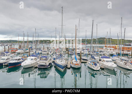 Sailing boats moored in the harbor of Falmouth, Cornwall, England. - Stock Photo