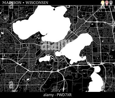 Simple map of Madison, Wisconsin, USA. Black and white version for clean backgrounds and prints. This map of Madison contains three markers who are gr - Stock Photo