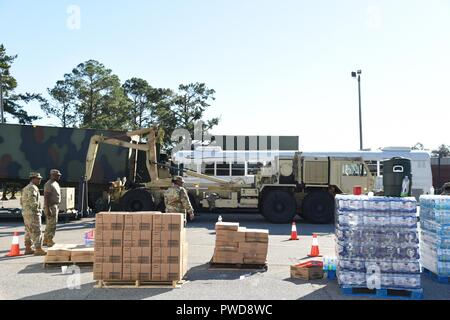 U.S. Airmen and Soldiers from the Georgia National Guard distribute food and water in Miller County, Ga. Oct. 13, 2018 during Hurricane Michael relief efforts, October 13, 2018. The Georgia National Guard is working in coordination with the Georgia Emergency Management Agency and local authorities to distribute supplies and conduct route clearance. (U.S. Air National Guard photo by Tech. Sgt. Amber Williams). () - Stock Photo